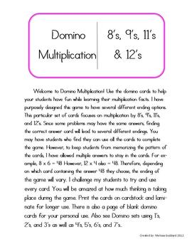 Domino Multiplication by 8's, 9's, 11's, and 12's