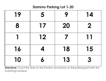 Domino Parking Lot - Math Station