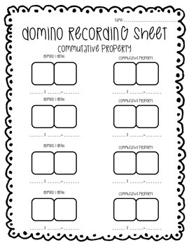 Domino Recording Sheet for Commutative Property