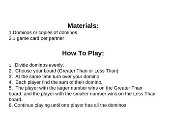 Domino Soccer - Greater Than/Less Than Game