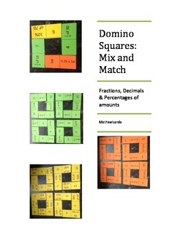 Domino Squares: Mix and Match: Fractions, decimals and percentages of amounts