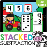 Domino Stacked Subtraction up to 10 Farm Kindergarten Math