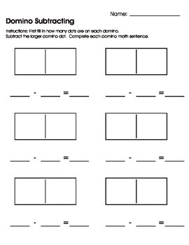 domino subtracting worksheet printable by mary heishman tpt. Black Bedroom Furniture Sets. Home Design Ideas