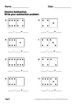 Domino Math Worksheets: Subtraction