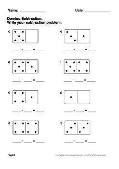 domino math worksheets subtraction by whooperswan tpt. Black Bedroom Furniture Sets. Home Design Ideas