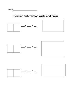Domino Subtraction write and draw