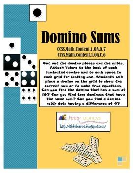 Domino Sums- CCSS.Math.Content.1.OA.C.6 / D.7