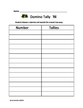 Domino Tally Recording Sheet