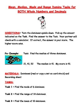 Mean, Median, Mode, and Range Activities using Dominoes