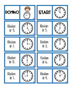 Domino Telling time to the hour and half hour