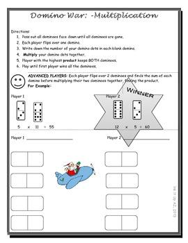Domino War (Multiplication) Game Christmas