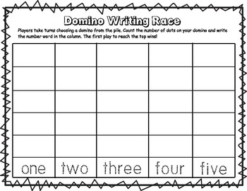 Domino Writing Race: Writing Numbers in Words