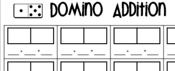 Domino addition and subtraction recording sheet