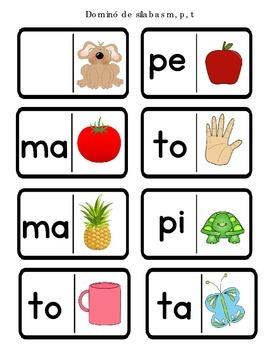 Domino de silabas con la M,P,T