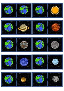 Dominó juego ESPACIO PLANETAS / Domino game SPACE: PLANETS