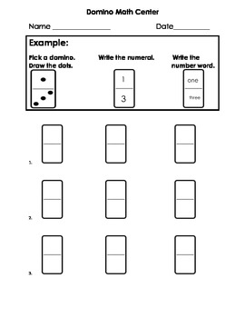 Domino math - Number Sense-identifying numbers