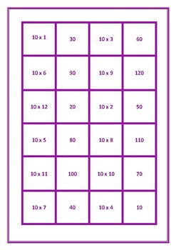 Dominoes 10 Times Table Game