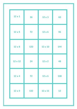 Dominoes 12 Times Table Game
