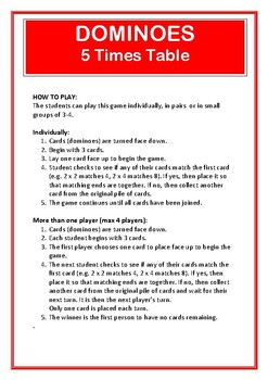Dominoes 5 Times Table Game