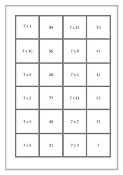 Dominoes 7 Times Tables Game