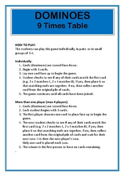 Dominoes 9 Times Table Game