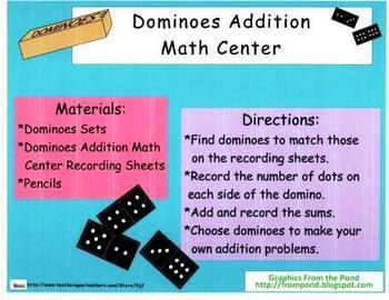 Dominoes Addition Math Center