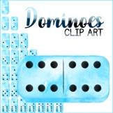 Dominoes Clip Art Blue Watercolour Clipart Graphic Set of
