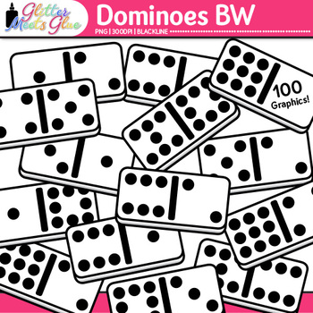 Dominoes Clip Art | Great for Worksheets and Handouts for Math Resources | B&W