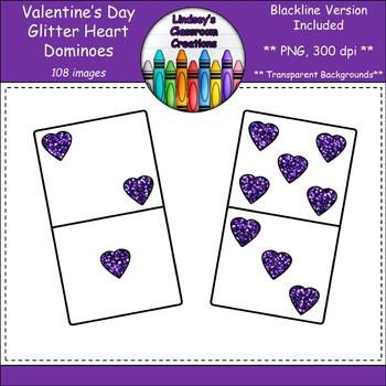 Dominoes Clip Art - Valentine's Day Hearts - Glitter Edition!  Blacklines Too!