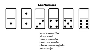 Dominos Numbers Color Code Sheet in Spanish Espanol  uno-seis