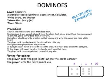 Dominoes Exponents