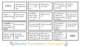 Dominoes Recess Procedures