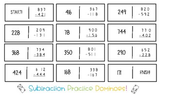 3.NBT.2 Subtraction with Regrouping Dominoes
