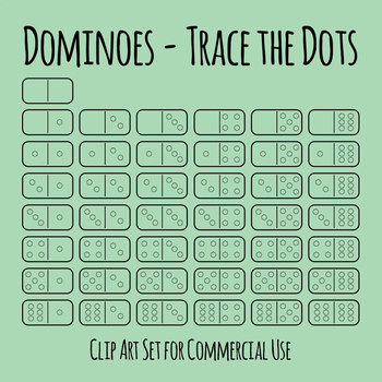 Dominoes Trace the Dots Set Clip Art Set for Commercial Use