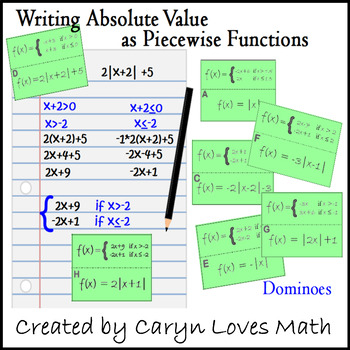Dominoes: Writing Absolute Value Equations as Piece-wise Function