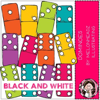 Dominoes clip art - BLACK AND WHITE - Melonheadz Clipart
