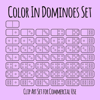 Dominoes for Coloring In Clip Art Set for Commercial Use