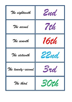 Dominoes to revise Ordinal numbers