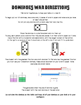 Dominos War - Printable directions/scorecards and lesson plan