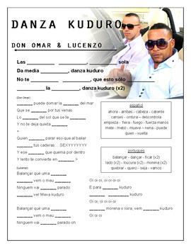 """Don Omar & Lucenzo - """"Danza Kuduro"""" Cloze Song Sheet! Spanish! Portuguese!"""