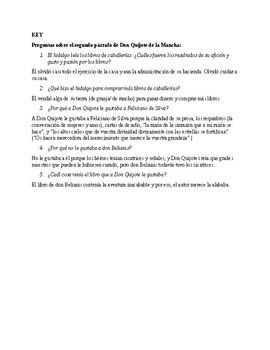 Don Quijote Ch. 1 Questions en español