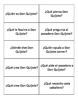 Don Quijote (Chapters 1-5) - Review Q&A Cards