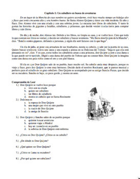 Don Quijote Excerpts and Questions in Spanish (Intermediate Level)