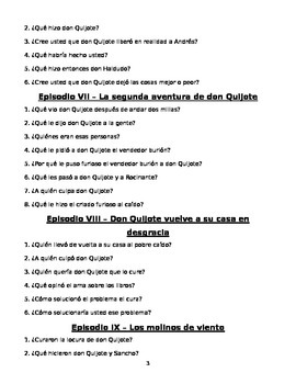 Don Quijote - comprehension questions