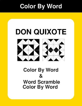 Don Quixote - Color By Word & Color By Word Scramble Worksheets