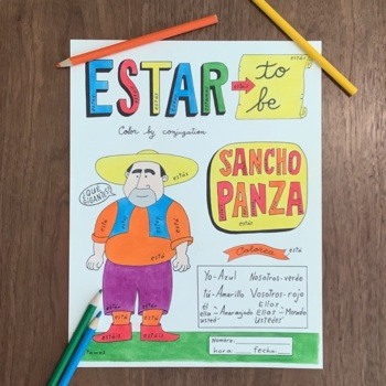 Don Quixote Sancho Panza Color by conjugation ~ESTAR ~NO PREP