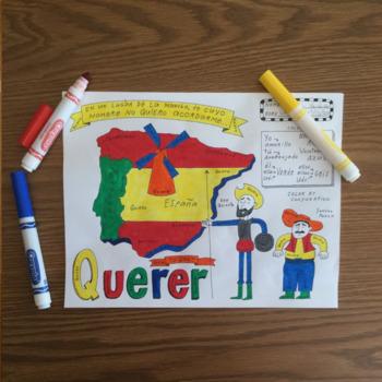 Don Quixote Sancho Panza Querer Color by conjugation no prep Spanish verb