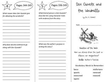 Don Quixote and the Windmills Trifold - Reading Street 6th Grade Unit 6 Week 1