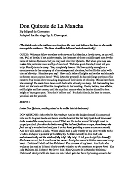 Don Quixote de La Mancha 45 Minute Play Adaptation Script, Readers Theater