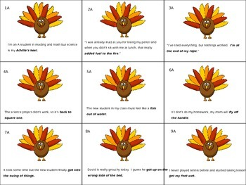 Don't Be A Turkey!  Idiom Game